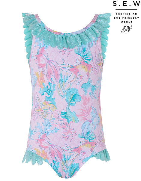 Baby Dinah Printed Shimmer Swimsuit Pink, Pink (PALE PINK), large