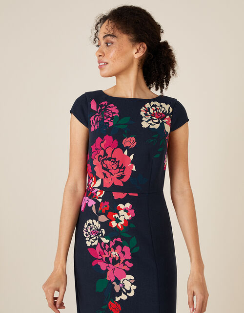 Pippa Floral Shift Dress, Blue (NAVY), large