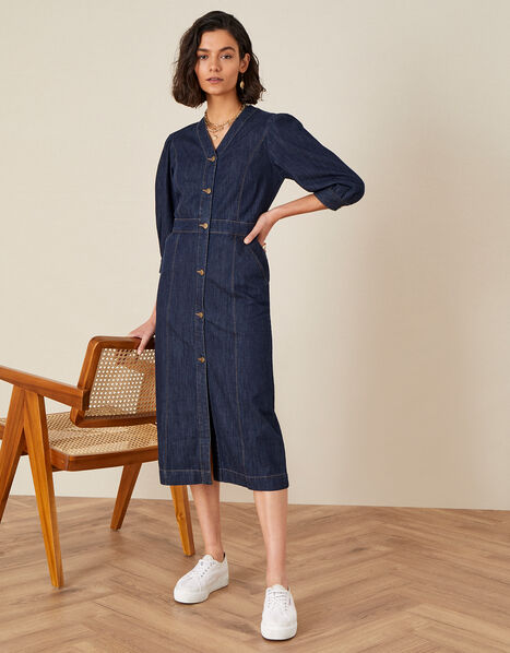 Denim Midi Dress in Organic Cotton  Blue, Blue (INDIGO), large