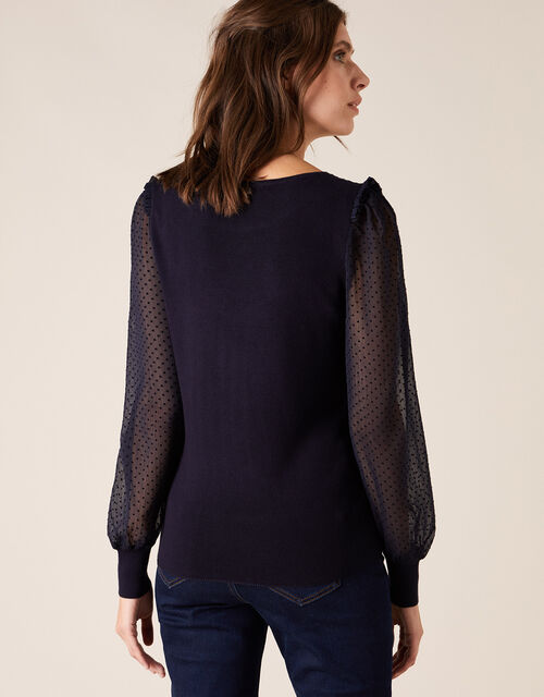 Woven Sleeve Jumper with Sustainable Viscose, Blue (NAVY), large