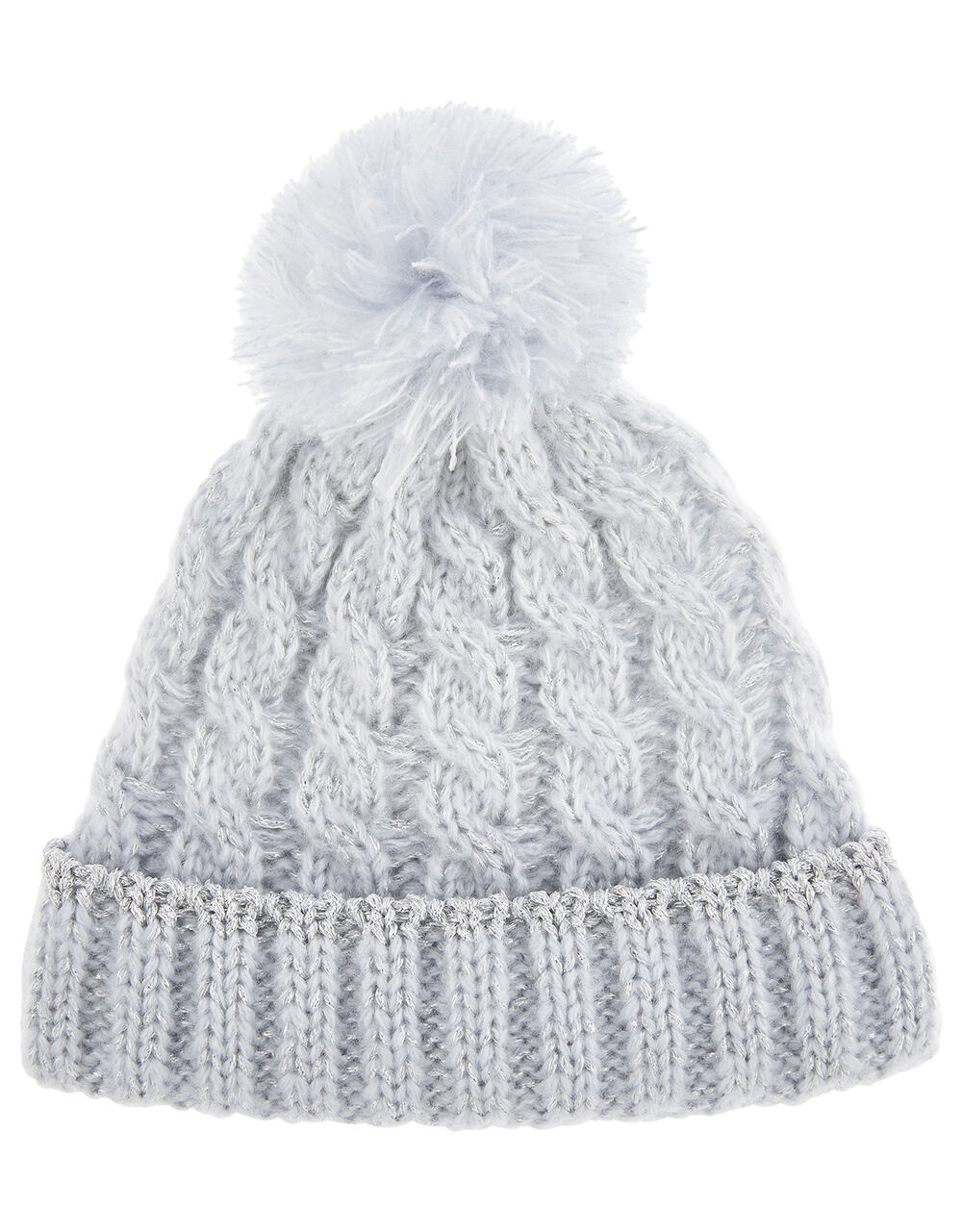 Baby Evie Shimmer Cable Knit Hat, Blue (BLUE), large