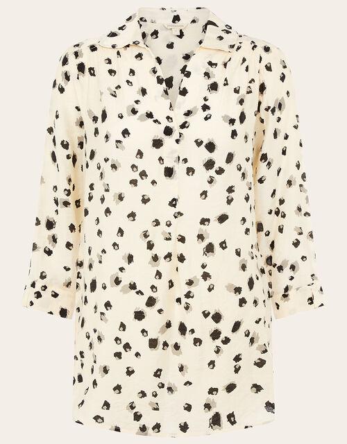 Animal Print Relaxed Shirt, Ivory (IVORY), large