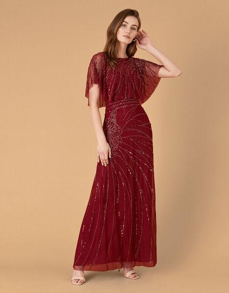 Florence Embellished Flutter Sleeve Maxi Dress Red, Red (RED), large