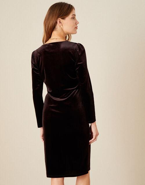 Shelly Plain Velvet Dress, Brown (CHOCOLATE), large