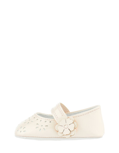 Baby Princessa Cutwork Booties, Natural (CHAMPAGNE), large
