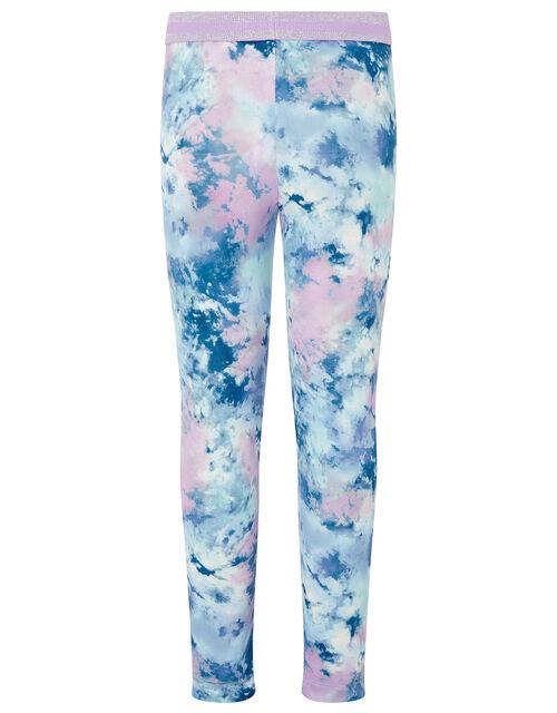 Tie-Dye Print Leggings, Blue (BLUE), large