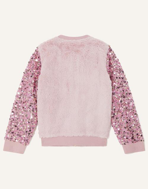 Sequin Sleeve Fur Bomber Jacket, Pink (PINK), large