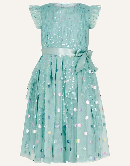 Rainbow Spot Print Frill Dress, Teal (TEAL), large