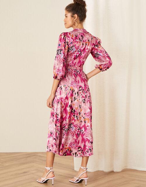 Cameia Animal Print Satin Dress, Pink (PINK), large