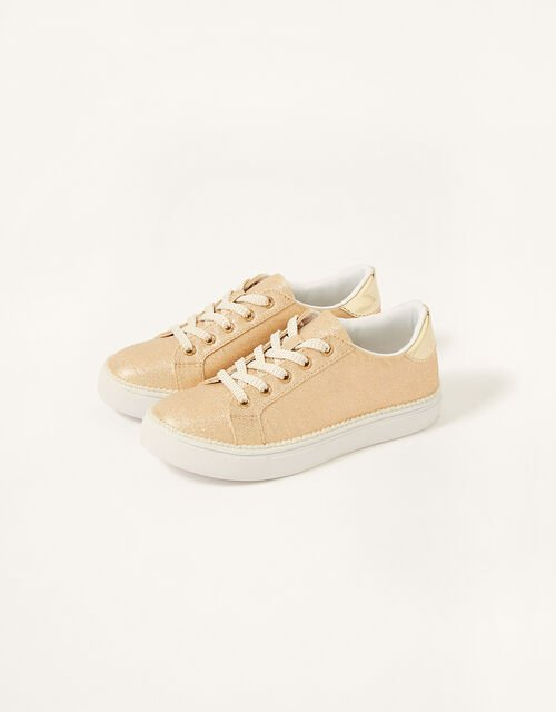 Shimmer Pearl Edge Trainers , Gold (GOLD), large