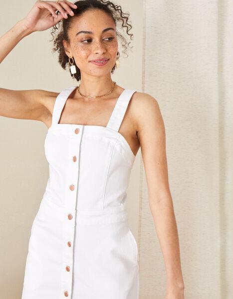 Button-Through Denim Pinafore Dress Natural, Natural (ECRU), large