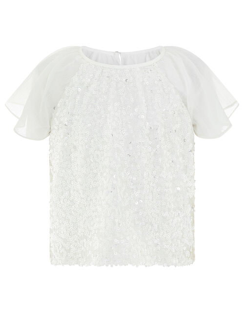 Azurah Sequin Top with Flutter Sleeves, Ivory (IVORY), large