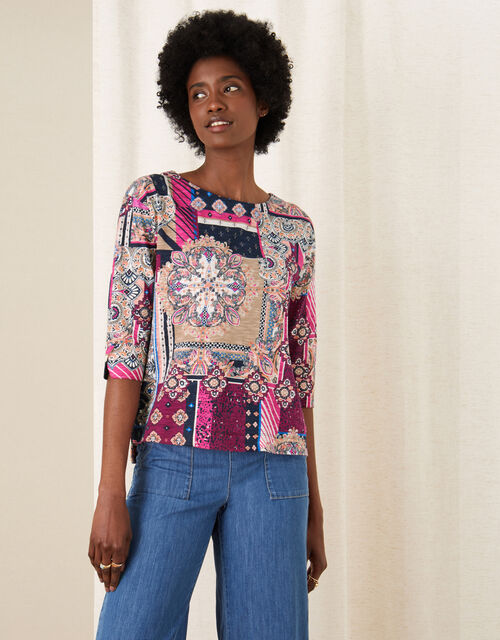 Patch Print Jersey Top, Pink (PINK), large