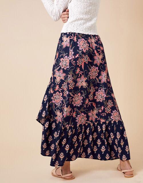 Floral Print Midi Skirt in LENZING™ ECOVERO™, Blue (NAVY), large