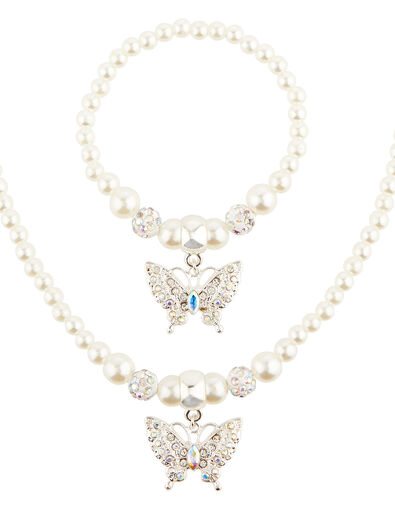 Butterfly Pearl Necklace and Bracelet Set, , large