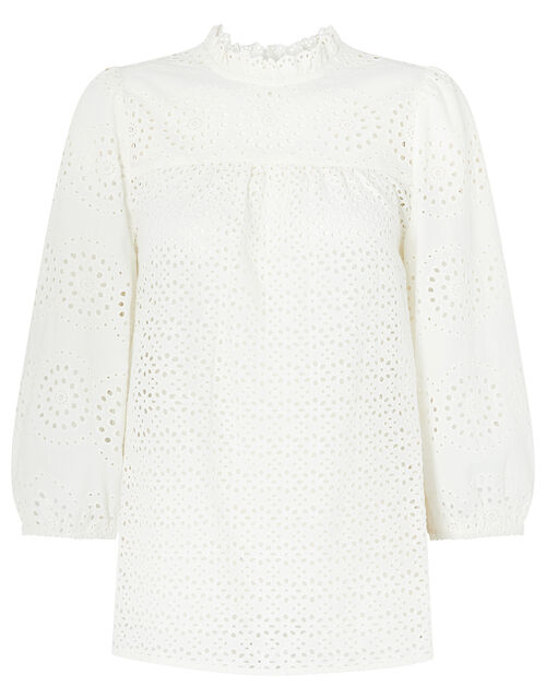 Rachel Broderie Lace Blouse, Ivory (IVORY), large