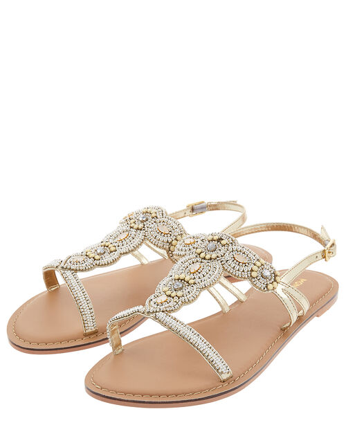 Marnie Embellished Metallic Sandals, Gold (GOLD), large