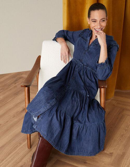 Samson Tiered Denim Dress, Blue (DENIM BLUE), large