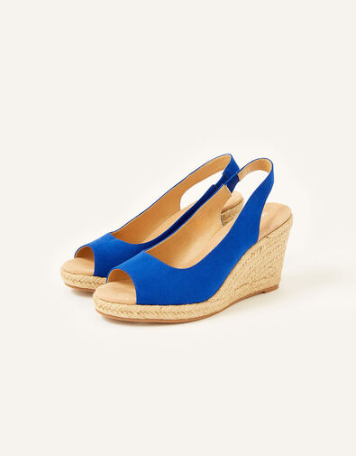 Sandy Peep Toe Espadrille Wedges Blue, Blue (COBALT), large