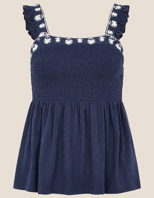 Simmi Floral Embroidered Shirred Top, Blue (NAVY), large