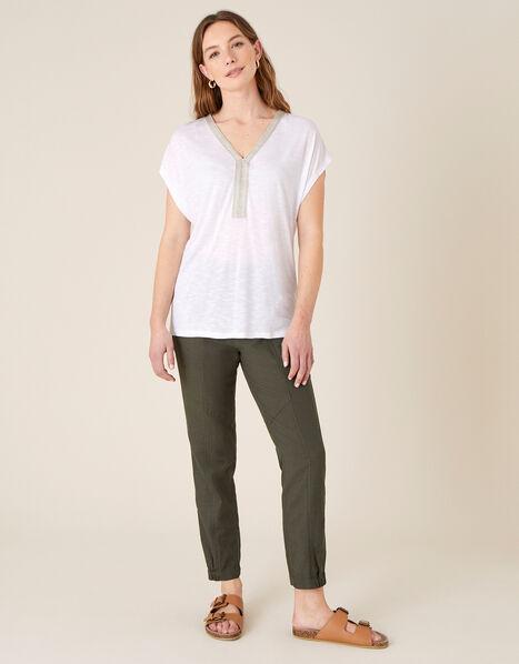 Embroidered Slub Jersey T-Shirt  Ivory, Ivory (IVORY), large