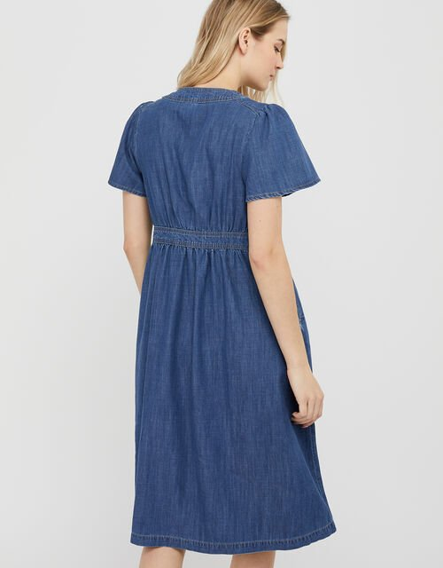 Denim Midi Dress in LENZING™ TENCEL™, Blue (DENIM BLUE), large