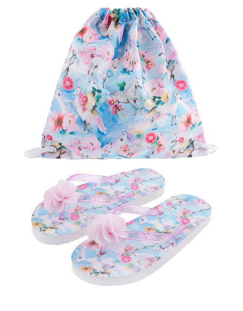 Unicorn Floral Flip Flop and Bag Set, Blue (BLUE), large