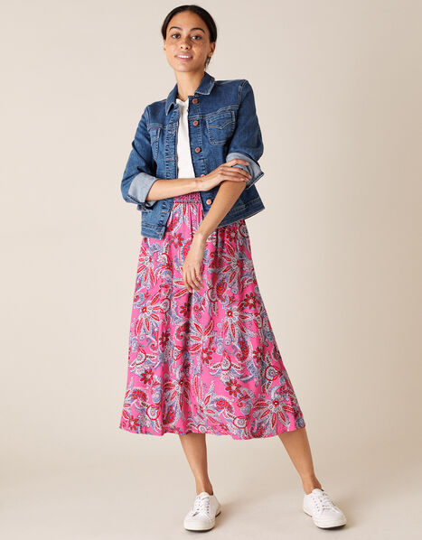 Paisley Print Skirt in LENZING™ ECOVERO™ Pink, Pink (PINK), large