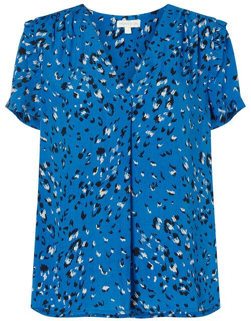 Animal Print Ruffle Sleeve Top, Blue (BLUE), large