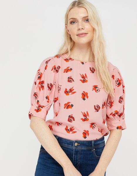 Betty Printed Short Sleeve Blouse Pink, Pink (BLUSH), large