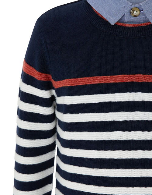 Peter Striped Jumper with Faux Shirt Collar, Blue (NAVY), large
