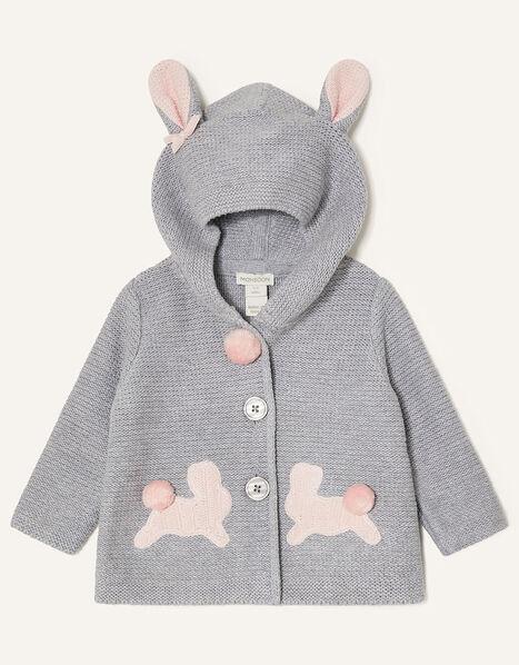 Newborn Bunny Knit Cardigan Grey, Grey (GREY), large
