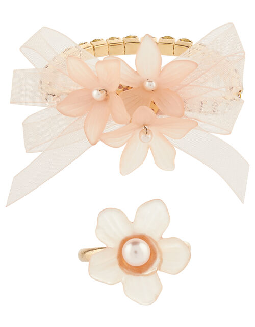 Cluster Flower Pearly Jewellery Set, , large