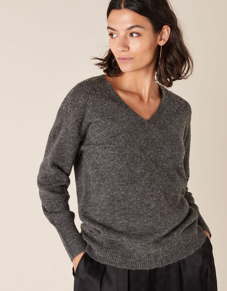 Floral Bead Knit Jumper with Recycled Fabric Grey, Grey (CHARCOAL), large