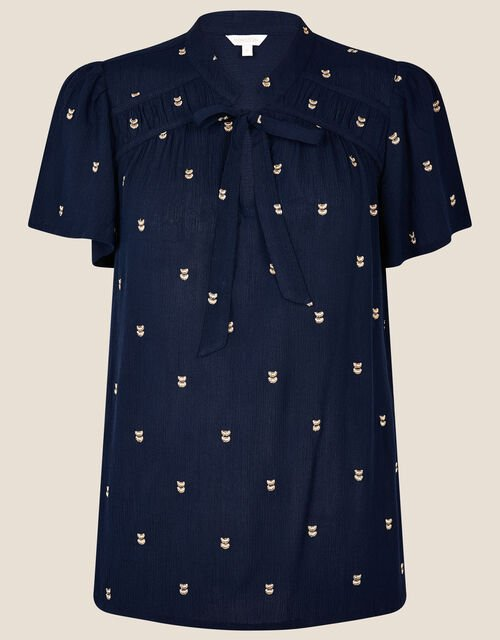 Embroidered Tie Neck Top, Blue (NAVY), large