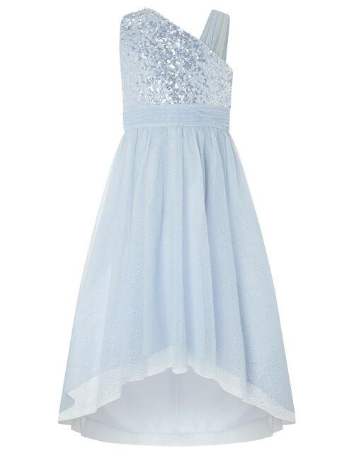 Nadia Blue One Shoulder Dress With Sequins, Blue (BLUE), large