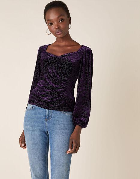 Helena Stretch Heart Devore Top Purple, Purple (PLUM), large
