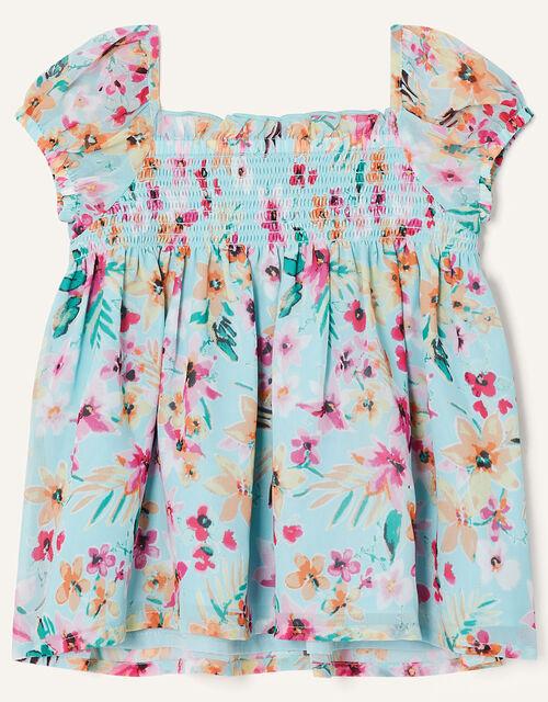 Baby Floral Top and Leggings Set , Blue (AQUA), large