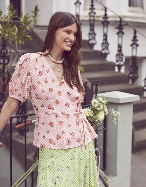 Gabriella Gingham Floral Wrap Top, Pink (PINK), large