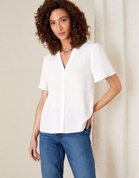 Frill Sleeve Top with LENZING™ ECOVERO™ Ivory, Ivory (IVORY), large