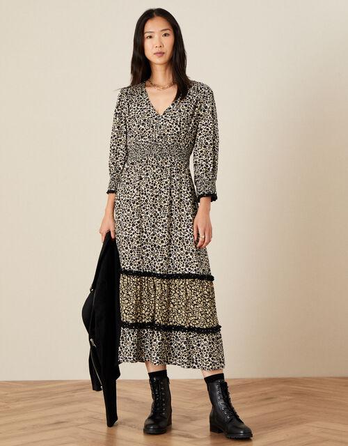 Moira Floral Print V-Neck Midi Dress , Black (BLACK), large