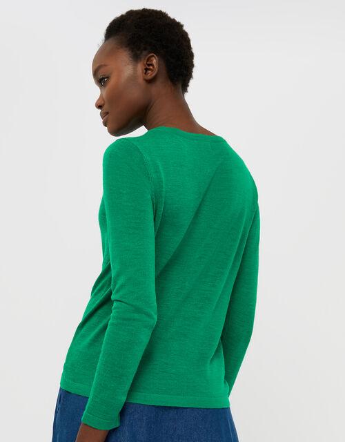 Loretta Button Cardigan in Linen Blend, Green (GREEN), large