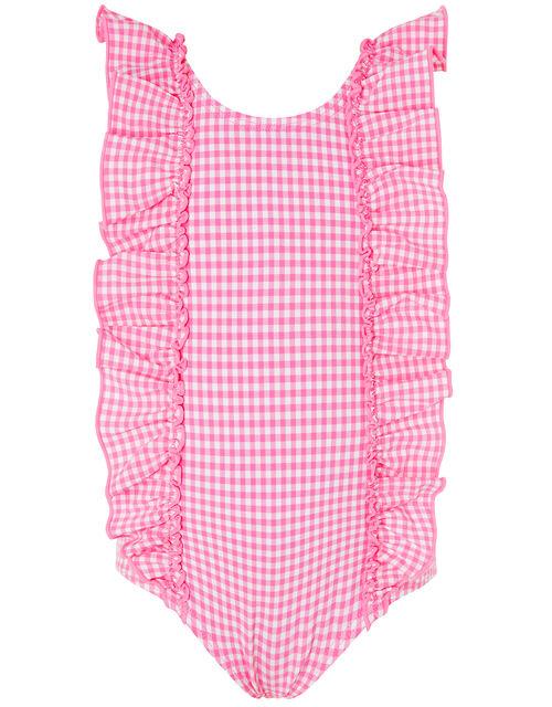Baby Geri Gingham Ruffle Swimsuit, Pink (PINK), large