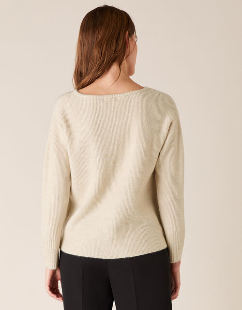 Twist Front Knit Jumper, Ivory (IVORY), large
