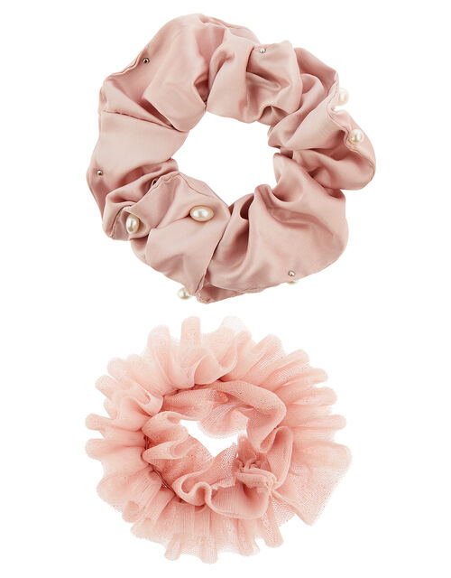 Pearl and Glitter Hair Scrunchie Set, , large