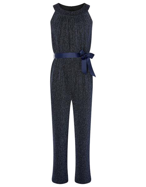 Shimmer Halter Jumpsuit Blue, Blue (NAVY), large