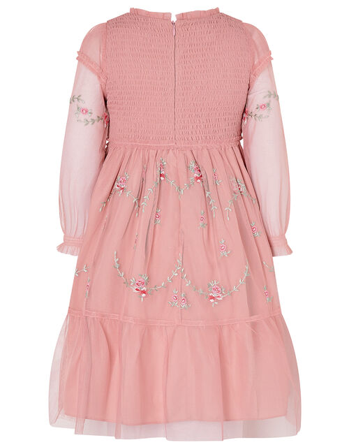 Floral Embroidery Long-Sleeve Dress, Pink (PINK), large