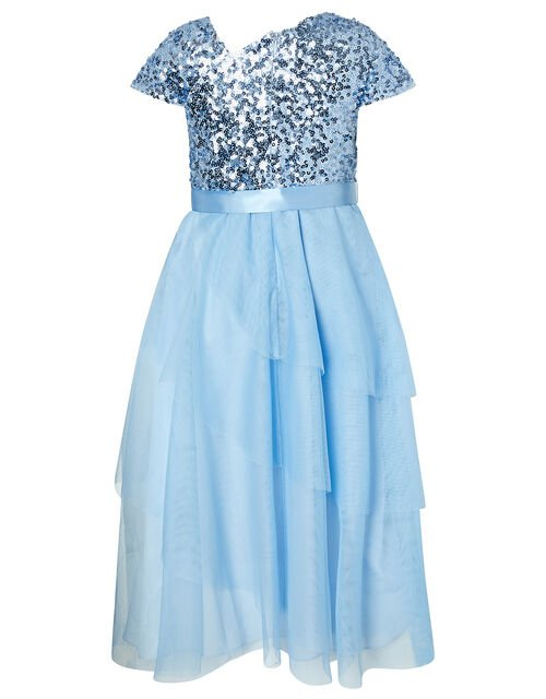 Florabelle Sequin Bodice Dress with Tiered Skirt, Blue (BLUE), large