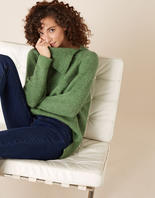 Split Neck Knit Jumper in Wool Blend, Green (GREEN), large