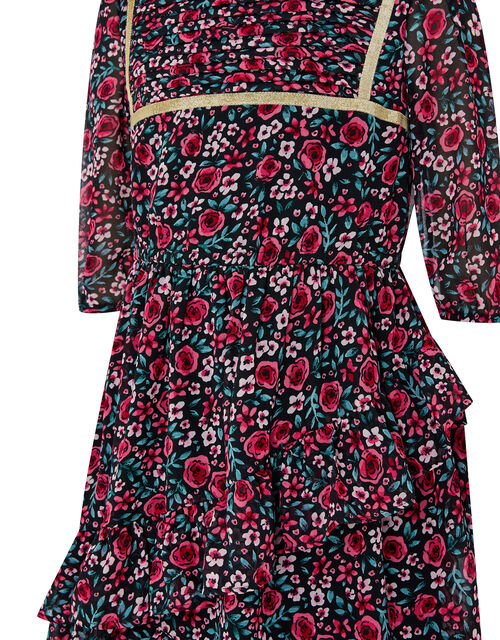 Ditsy Rose Dress in Recycled Fabric, Red (RED), large